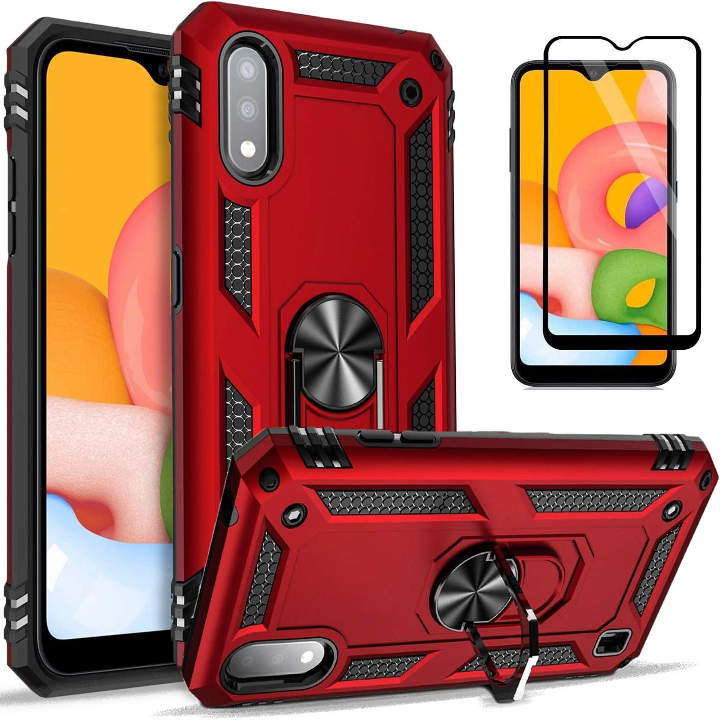 STARSHOP - Samsung Galaxy A01 Phone Case, [NOT FIT A10E/A10/S10] with [Tempered Glass Protector Included] Metal Ring Kickstand Stand Shockproof Drop Protection Phone Cover-Red