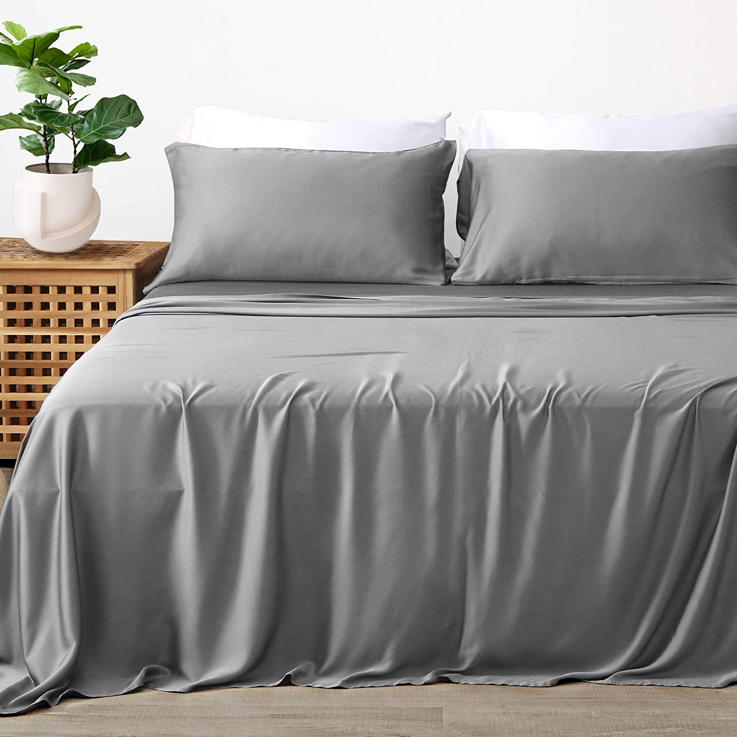 Dr.BeTree Bamboo Sheets Queen Size Bed Sheets 4 Piece Set, 100% Bamboo Sheet-Satin Weave, Luxuriously Soft & Cooling, Double Stitching, 17