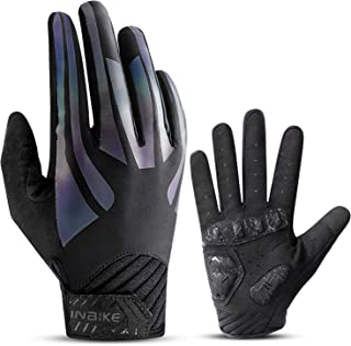 INBIKE Cycling Gloves, Touch Screen Mountain Bike Gloves EVA Pads Palm Full Finger Reflective for Men