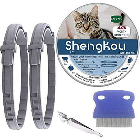 Flea and Tick Collar for Cat, Made with Natural Plant Based Essential Oil, Safe and Effective Repels Fleas and Ticks, Waterproof, 12 Months Protection, Fits Cat and Small Dog (2 Packs)