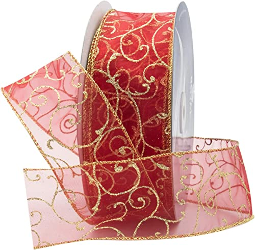 """discount Royal Imports Red Organza Glitter Wired Sheer Ribbon - outlet online sale Gold Edge, 2.5"""" (#40) Swirl Design for discount Floral, Craft, Holiday Decoration, 50 Yard Roll (150 FT Spool) Bulk outlet sale"""
