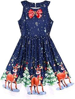 ワンピース 子供服 女の子 おしゃれ 可愛い プリンセスドレス ノースリーブ 蝶結び サンタクロース エルク お出かけ 通園 パーティー 娘の日 プレゼント 誕生日 ギフト
