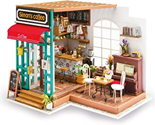 ROBOTIME DIY Dollhouse Kit Miniature Coffee House Kits with Accessories and Furniture Best Birthday