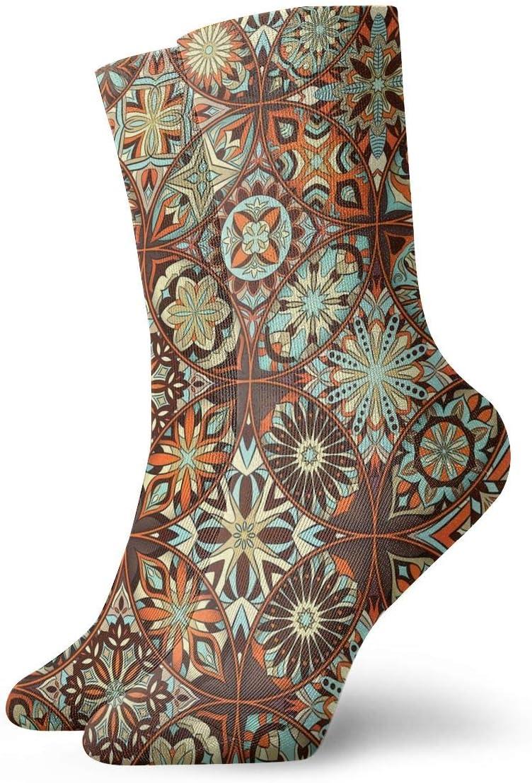 Unisex Casual Colorful Mosaic Socks Moisture Wicking Athletic Crew Socks