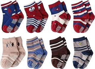 Non Slip Baby Boy's Socks, BABIBEAN Cotton Infant Kids Crew Dress Socks 8/12 Pairs