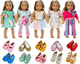 ZITA ELEMENT American 18 Inch Girl Doll Clothes Outfits Lot 7 = 5 Daily Costumes Clothes Dress + 2 Random Style Shoes for 18 Inch Doll Clothes and Accessories