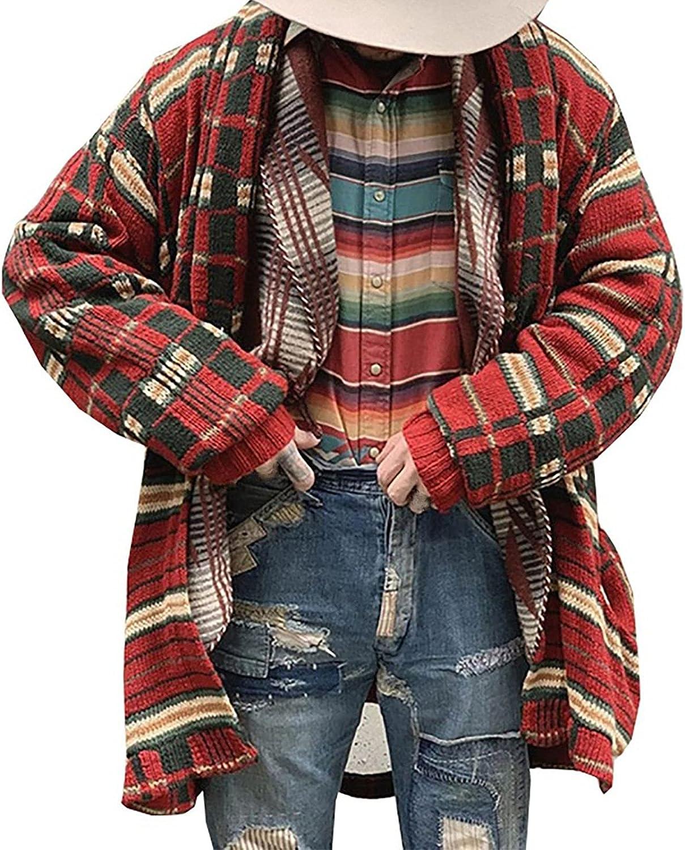 Men's Knitwear Cardigan Fashion Fall Winter Coat Folk-Custom Flat Knitted Loose Plus Size Long Windbreaker Jacket