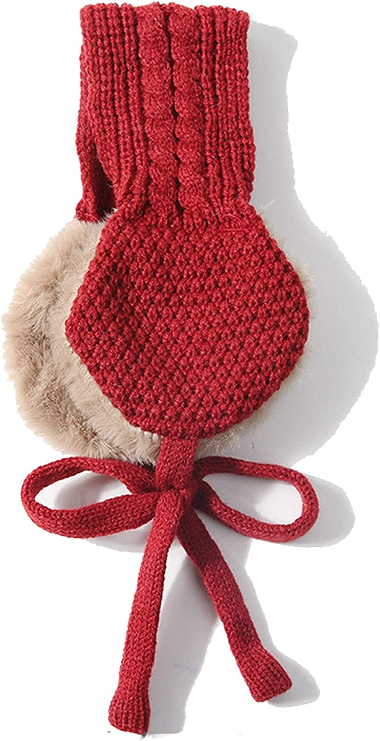 Vintage wool ear covers Cute tie warm knit autumn winter girls head wear accessories solid color with ball earmuffs