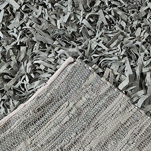 DESIGN DELIGHTS FRANSEN Teppich MELLAN | Leder, 200x140cm, grau | Läufer