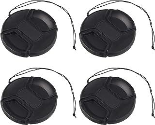 Futheda - Juego de 4 Tapas de Objetivo de 82 mm con Cable de Seguridad Funda Protectora a presión Compatible con Lentes de cámara DSLR y sin Espejo