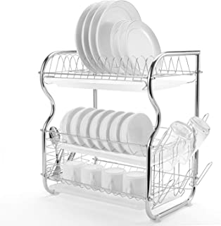 Glotoch Dish Drying Rack, 3 Tier Dish Rack with Utensil Holder, Cup Holder and Dish Drainer for Kitchen Counter Top, Plated Chrome Dish Dryer Silver