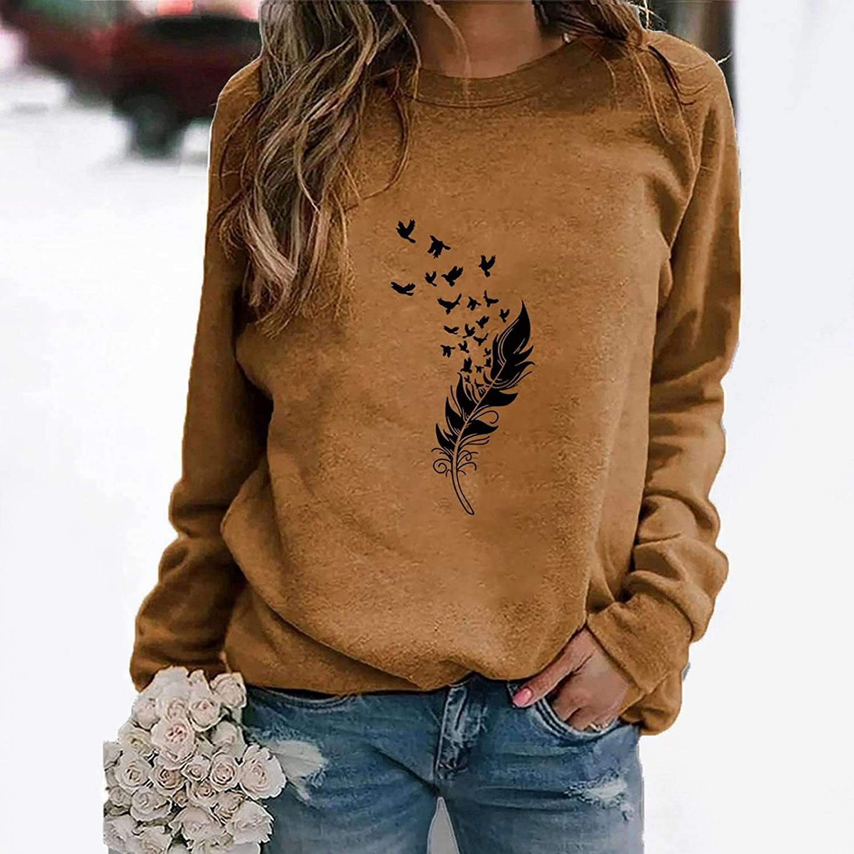 FABIURT Long Sleeve Shirts for Women,Women's Dandelions Sunflower Graphic Crewneck Sweatshirt Tunics Tops Tee Pullover