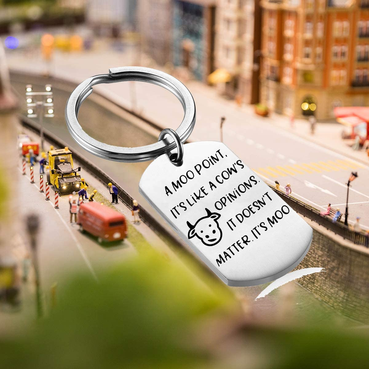 A Moo Point It/'s Like a Cow/'s Opinions Gift Friends TV Show Joey Quote Funny Keychain Gift for Friends Fans