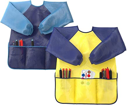 Kids Art Smocks Pack of 2 - Children Artist Painting Aprons Waterproof and Long Sleeve with