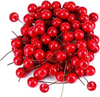 GL-Turelifes Artificial Red Berries, 500 Pieces Mini 10 mm/ 0.4'' Christmas Fake Berries Decor on Wire for Christmas Tree Decorations Flower Wreath DIY Craft Ornament