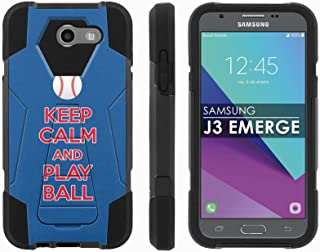 Samsung Galaxy J3 Emerge [2017] Mil-Spec [Mobiflare] [Black/Black] Dual Layer Armor Case [Kickstand] [Screen Protector] - [Play Ball - Chi Town] for Galaxy [2017] [J3 Emerge] [5