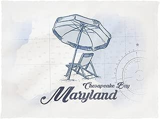 Lantern Press Chesapeake Bay, Maryland - Beach Chair and Umbrella - Blue - Coastal Icon 71807 (60x80 Poly Fleece Thick Plush Blanket)