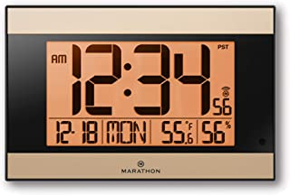 Marathon Large Atomic Wall Clock with Auto Backlight, Calendar, Temperature, and Humidity - Self Setting, Self Adjusting - Batteries Included - CL030052BK-GD (Black Frame with Gold Trim)