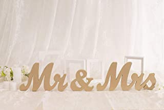 Huihuiyang Vintage Style Wooden Mr & Mrs Letters Sign DIY Decor for Wedding Decoration Table Decor Wedding Gift