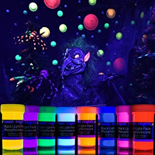 2-IN-1 Glow-in-the-Dark Paint – Neon Glow Paint Set with UV Black Light Reflective Wall..