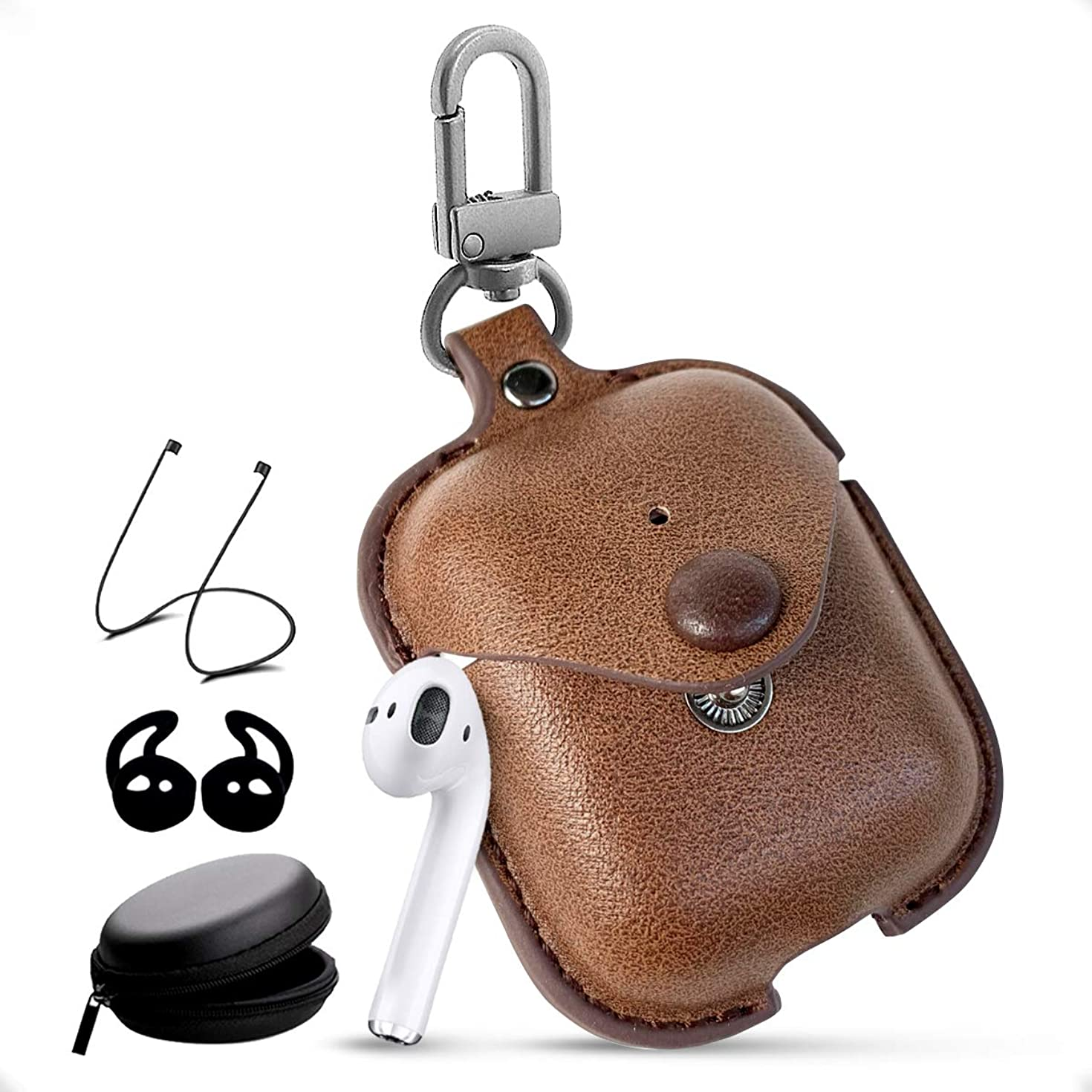 Leather Airpods 2 Case with Keychain Accessories Kits and Earbud Case Airpod Strap String Compatible with Apple Airpods Wireless Charging Case 1/2 (Brown)