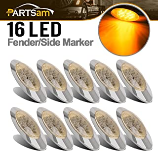 Partsam 10x 6.5 Led Marker Light 16LED Clear/Amber Chrome Replacement for Peterbilt 379, Oval Sealed Side Fender Cab Panel Roof Running Marker Lights Compatible with Kenworth Freightliner