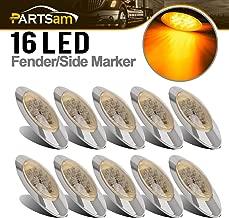 Partsam 10x 6.5 Led Marker Light 16LED Clear/Amber Chrome Replacement for Peterbilt 379, Oval Sealed Side Fender Cab Panel Roof Running Marker Lights Compatible with Kenworth Freightliner