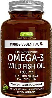 Pure & Essential High Absorption Omega-3 Wild Fish Oil 1360mg, EPA DHA 1000mg & Astaxanthin 1mg, Lemon Flavor, 180 Capsules