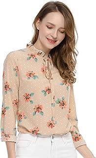 Allegra K Women's Tie Ruffled Neckline Polka Dots Long Sleeves Floral Blouse Tops