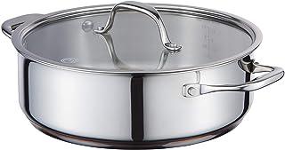 MasterChef Copperline - Sartén de acero inoxidable para inducción (5 capas, con tapa de cristal, 24 cm)
