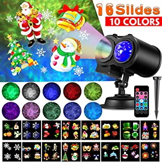 Christmas Projector Lights, LED Projection Light, 2 in 1 Water Wave Projector Light with 16 Switchable Patterns,Waterproof Landscape Light Show for Celebration Halloween Birthday and Party Decoration