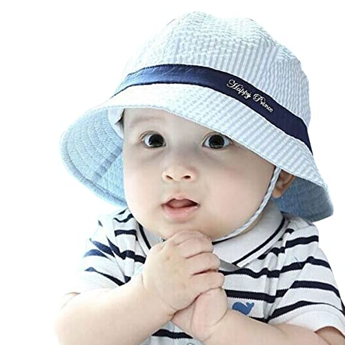 Millya Infant Baby Toddler Solid Brim Stripe Sun Protection Hat 100% Cotton  (Blue- 3f3a93b28bd7