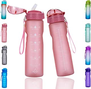 Goothdurs 24/32 oz Water Bottle with Time Marker & Straw...