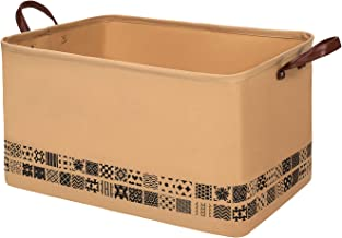 NINIPANDA&LEE Rectangle Storage Basket 22''x15''x13''H. Woven Fabric Storage Basket Bins for Toys -Extra Large Basket for Clothes,Blankets-Laundry Basket with Leather Handles.(Brown)