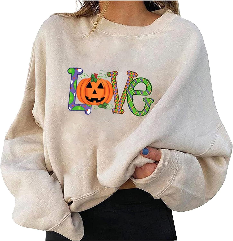 Sweatshirts for Women Fashion 2021 Popular product Letter Cute Cheap Halloween Pumpkin