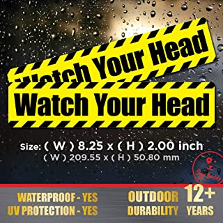 (Pack of 2 pcs) Watch Your Head - Waterproof Stickers Outdoor Indoor Polyester Decal Vinyl Label Stair Door Entry Safety Adhesive Sign
