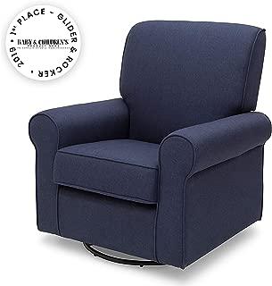 Delta Children Avery Upholstered Glider Swivel Rocker Chair, Sailor Blue
