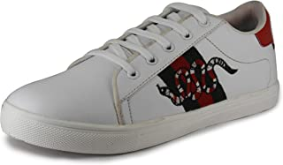 Toyto by LeatherKraft Men's White Snake Sneakers