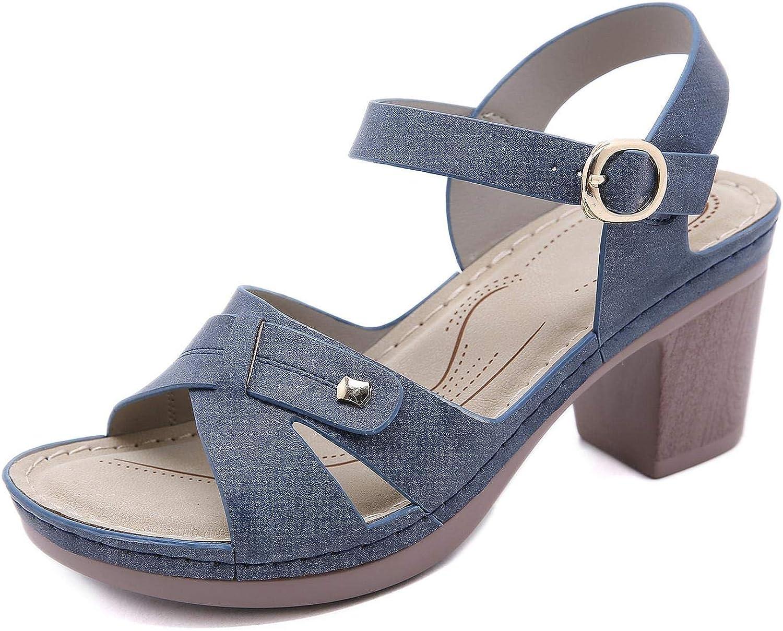 SHIBEVER Women Sandals Open Toe Chunky Heel Ankle Strap Sandals