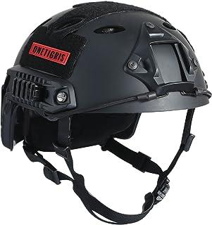 OneTigris アウトドア PJタイプ エアソフトヘルメット 米軍風レプリカ装備 多機能サバゲーヘルメット ロードバイク用 マウントレール付き かっこいいヘルメット オリジナル Fastヘルメット 調整可能 軽量 ブラック