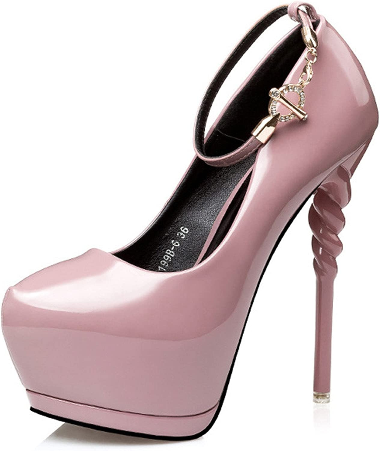Daniig High Heeled Platform shoes for Women 2017 Patent Leather Party Fashion Pointed Toe Buckle Strap Dance High Heel shoes