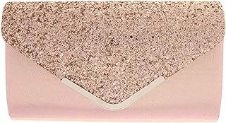 Dolity Women's Glitter Sequin Envelope Clutch Evening Bag Handbags Button Closure
