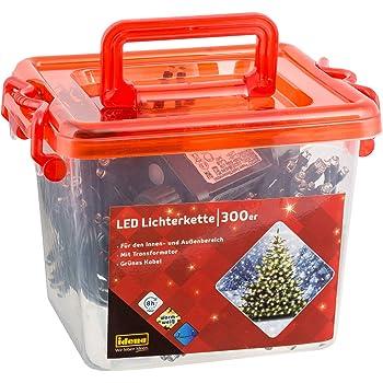 Idena 31820 - LED Lichterkette mit 300 LED in warm weiß, mit 8 Stunden Timer Funktion, Innen und Außenbereich, für Partys, Weihnachten, Deko, Hochzeit, als Stimmungslicht, ca. 27,5 m