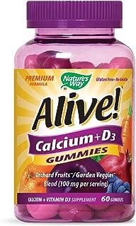Nature's Way Alive! Premium Calcium + D3 Gummy + Orchard Fruits/Garden Veggies Blend, 60 Cherry & Strawberry Gummies, Pack of 2