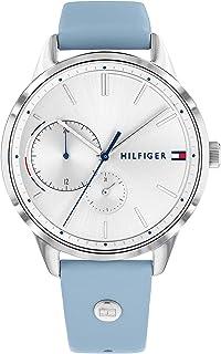 ساعة جلد مقاومة للماء دائرية انالوج بعقارب للنساء من تومي هيلفيجر 1782023 - لبني بيبي بلو