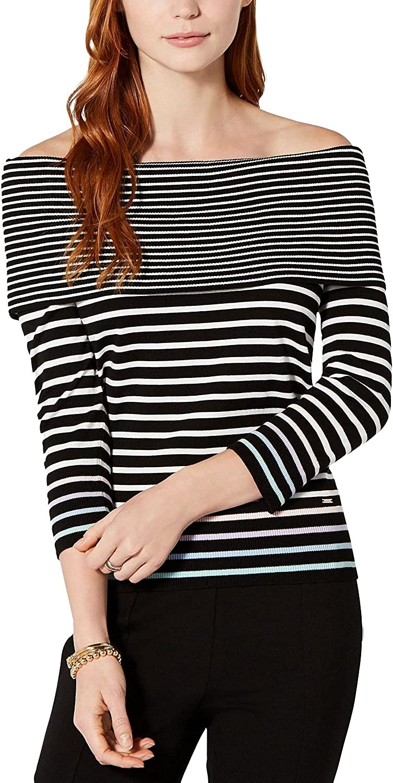 Tommy Hilfiger Womens Contrast-Stripe Off-The-Shoulder Sweater, Large, Black