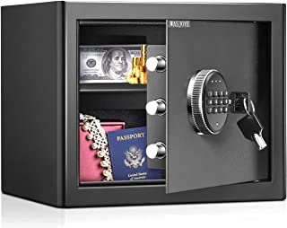 WASJOYE Security Safe Cash Box with Double Digital Keypad Safety Key Lock for Home Business Office Hotel Money Document Je...