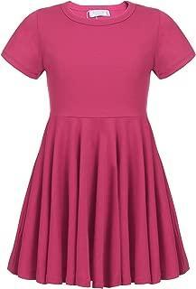 Girls Dress Short Sleeve A Line Swing Skater Twirly Hem Dress 2-12 Years