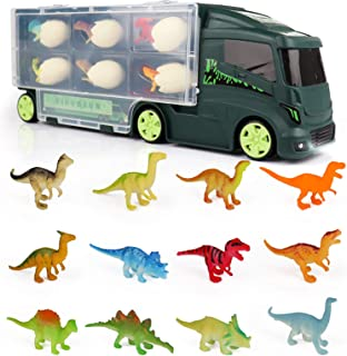 Dinosaurios Camión Juguetes Huevos de Dinosaurio Remolque para Coche 18 Figuras Almacenamiento Aquadragons Juegos Educativ...