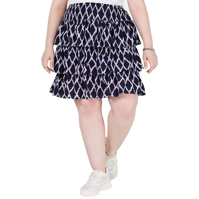 ターゲットデータム三番Michael Kors Women's Printed Tiered Skirt (3X) Dark Lavender